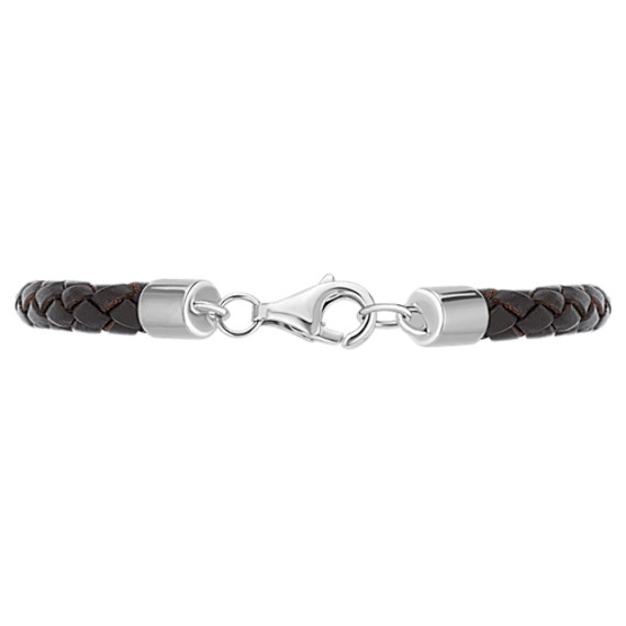 "Braided Leather, Black Agate and Sterling Silver Bracelet (9"")"