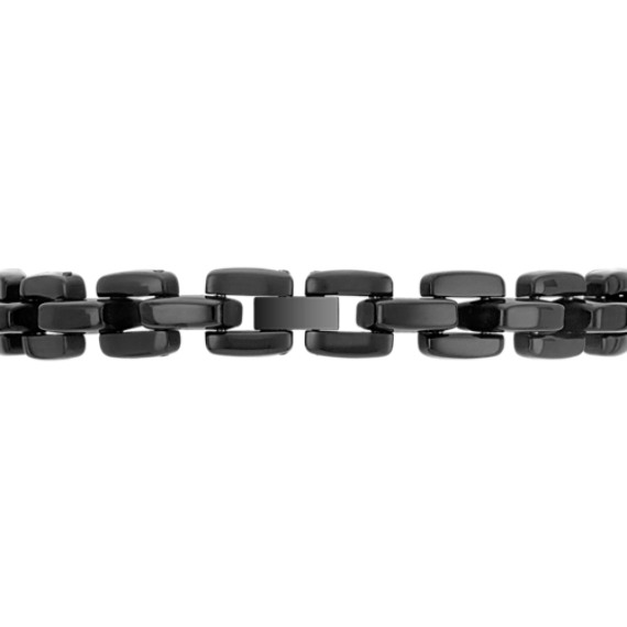 Engravable Stainless Steel Bracelet with Black Ionic Plating (8.5)