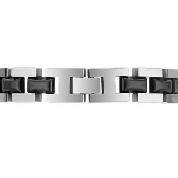 "Engravable Stainless Steel Bracelet with Black Ionic Plating (9"")"