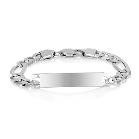 "Engravable Sterling Silver Figaro Bracelet (8.5"")"