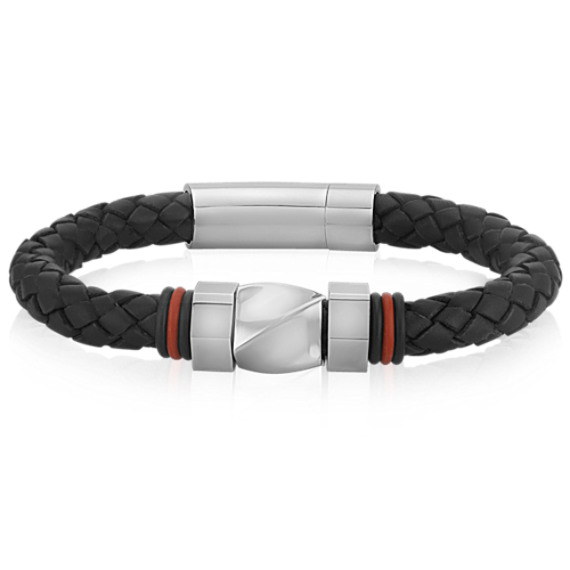 "Modern Leather and Stainless Steel Bracelet (8.5"")"