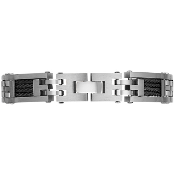 Stainless Steel and Cable Men's Bracelet (9)