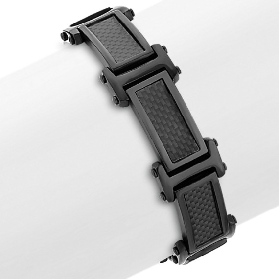 Stainless Steel and Carbon Fiber Bracelet (8.5)