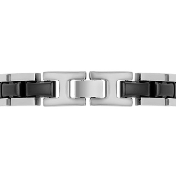 Stainless Steel and Diamond Bracelet with Black Ionic Plating (8.5)