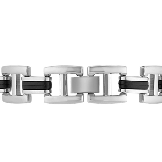 Stainless Steel and Rubber Bracelet (8.5)