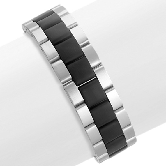 Stainless Steel Bracelet with Black Ionic Plating (8.5)