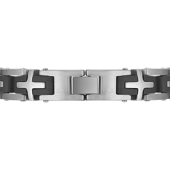 Stainless Steel Bracelet with Cross Pattern (8.5)