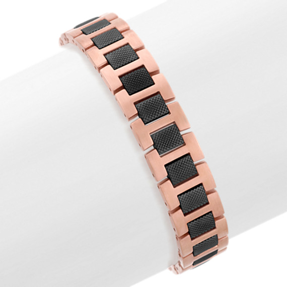 """Stainless Steel Bracelet with Rose and Black Ionic Plating (8.5"""")"""