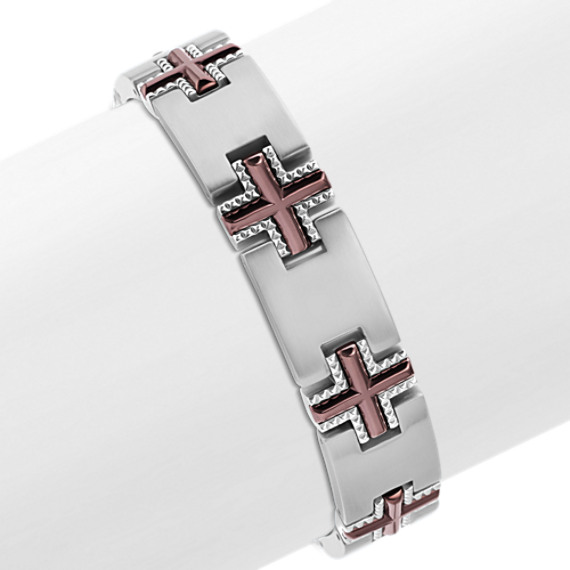 "Stainless Steel Cross Pattern Bracelet (9"")"