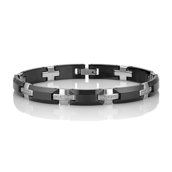 Tungsten and Diamond Bracelet (8.5)