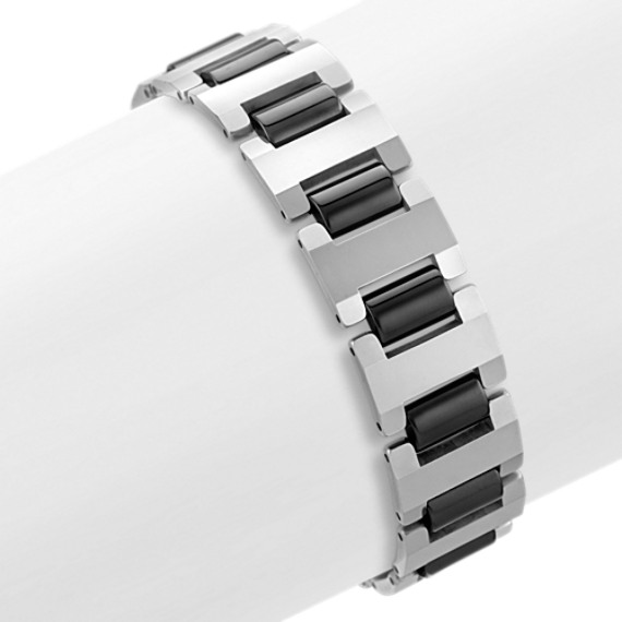 "Tungsten Bracelet with Black Ionic Plating (8.5"")"