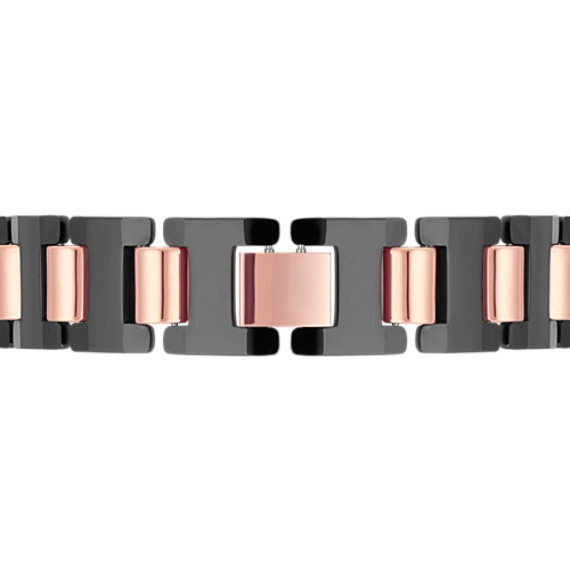 "Tungsten Bracelet with Rose and Black Ionic Plating (8.5"")"