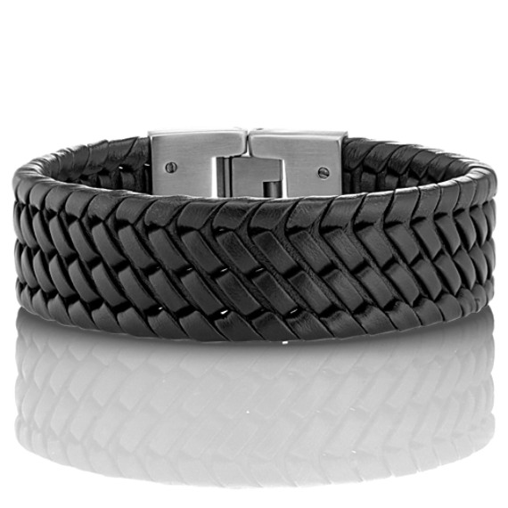 """Woven Black Leather and Stainless Steel Bracelet (8"""")"""