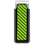 Green and Yellow Striped Stainless Steel Money Clip