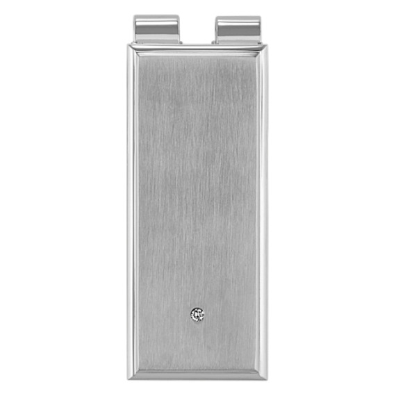 Round Diamond and Stainless Steel Money Clip