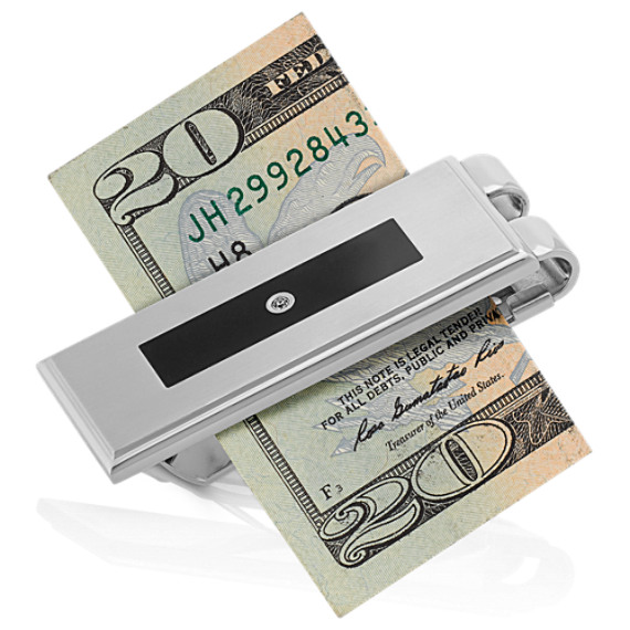 Stainless Steel Money Clip with Black Enamel and Round Diamond Accent