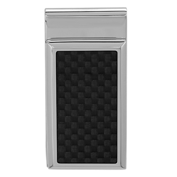 Stainless Steel Money Clip with Carbon Fiber Accent