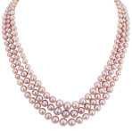 5-9.5mm Pink Cultured Freshwater Pearl Triple Strand Necklace (18)