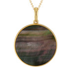 """Black Mother of Pearl Circle Pendant in Yellow Sterling Silver (20"""")"""