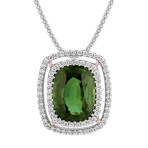 Cushion Cut Green Sapphire and Round Diamond Pendant (22)