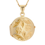 Floral Engraved Circle Locket in 14k Yellow Gold (18)