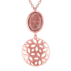 Floral Rose Sterling Silver and Pink Rhodonite Pendant (18)