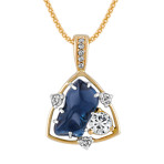 Freeform Sapphire, Round White Sapphire and Diamond Pendant (22)
