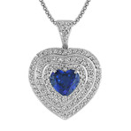 Heart-Shaped Sapphire and Round Diamond Heart Pendant (22)