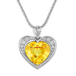 Heart Shaped Yellow Sapphire, Pear Shaped and Round Diamond Pendant (18)