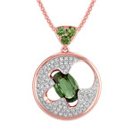 Oval and Round Green Sapphire and Round Diamond Circular Pendant (18)