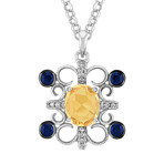 Oval Yellow Sapphire, Round Sapphire, and Diamond Pendant (18)