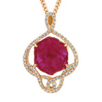 Regal Polished Rough Ruby and Diamond Pendant (18)