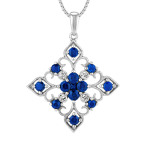 Round and Princess Cut Traditional Sapphire and Diamond Pendant (18)