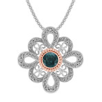 Round Blue Green Sapphire and Diamond Pendant in Two-Tone Gold (22)