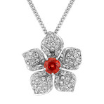 Round Fire Sapphire and Diamond Flower Pendant (18 in.)
