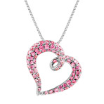 """Round Pink Sapphire Heart Pendant in Sterling Silver (18"""")"""
