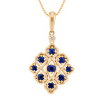 Round Sapphire and Diamond Pendant in 14k Yellow Gold (18)