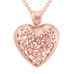 Vintage Rose Sterling Silver Cutout Heart Pendant (20)