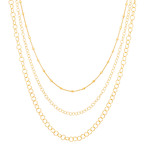 "Yellow Sterling Silver Triple-Chain Necklace (34"")"
