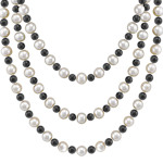 6.5mm Cultured Freshwater Pearl and Black Agate Strand (65)