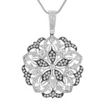 Floral Diamond Pendant with Black Rhodium (18)