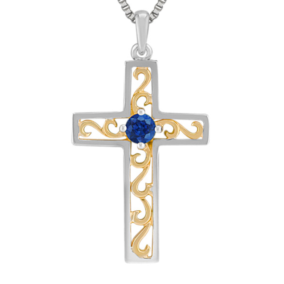 1/4 Round Sapphire Cross Pendant in Sterling Silver (18)