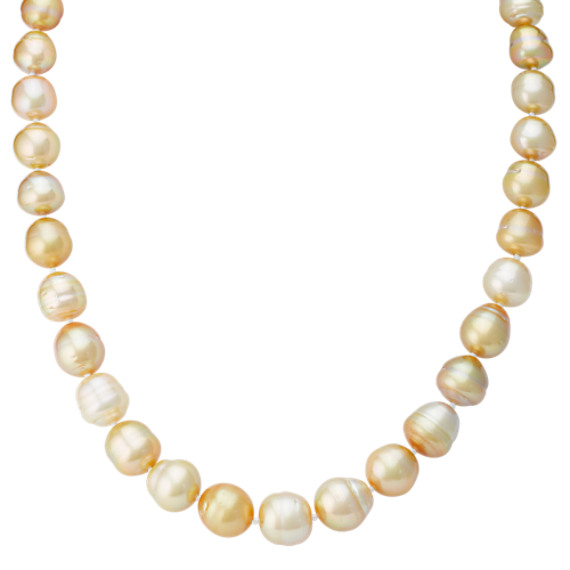 10-11mm Cultured Golden South Sea Pearl Necklace with Sterling Silver Clasp (18)