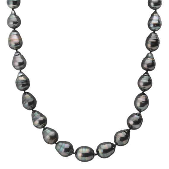 "10-12mm Multi-Colored Cultured Tahitian Pearl Necklace with Sterling Silver Clasp (18"")"