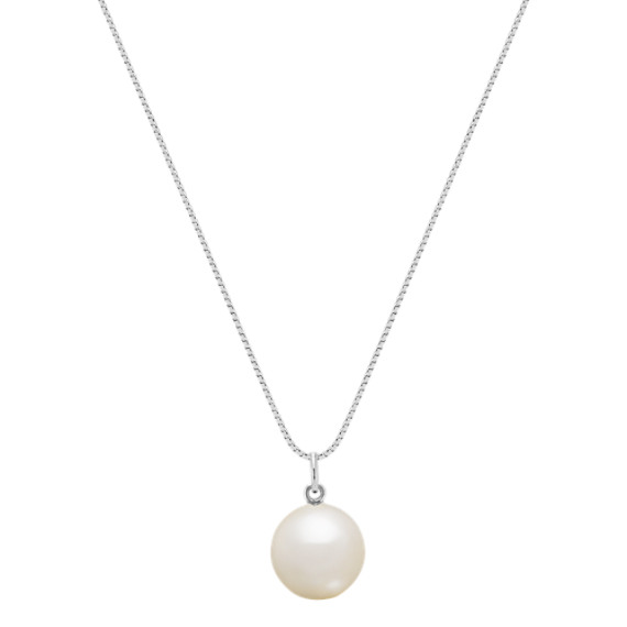 10mm Cultured Freshwater Coin Pearl Necklace in 14k White Gold (18 in.)