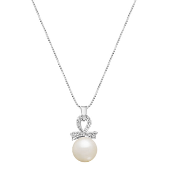 "10mm Cultured Freshwater Pearl and Diamond Pendant (18"")"