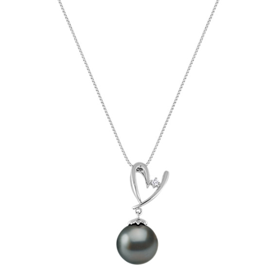 10mm Cultured Tahitian Pearl and Diamond Pendant (18)