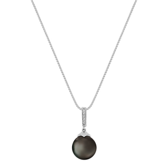 "10mm Cultured Tahitian Pearl and Diamond Pendant (18"")"