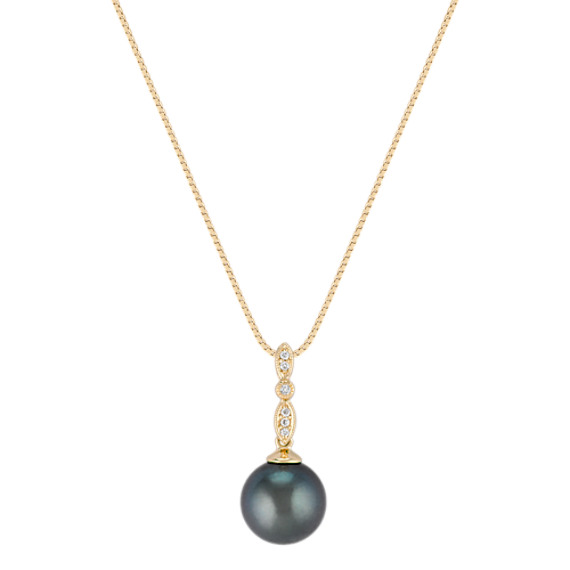"10mm Cultured Tahitian Pearl and Round Diamond Pendant (18"")"