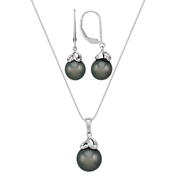 "10mm Cultured Tahitian Pearl Pendant and 9mm Earring Two-Piece Set (18"")"